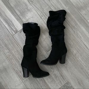 A New Day Black Suede Block Heel Boots